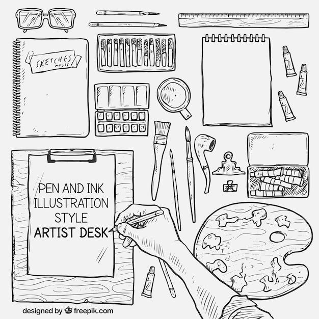 Handrawn ontwerper desk Gratis Vector