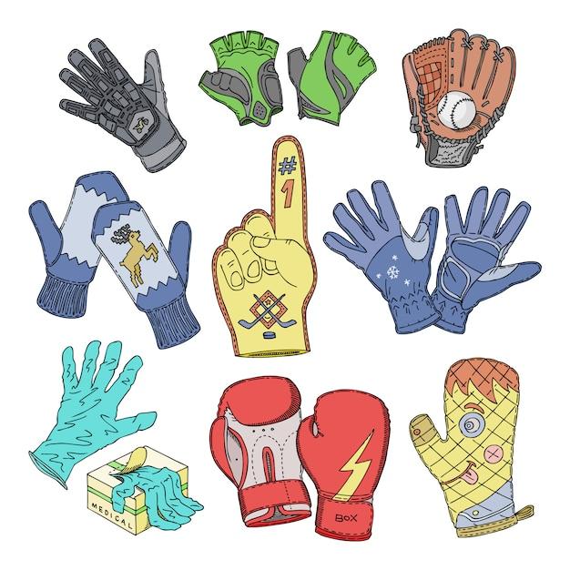 Handschoen wollen wanten en beschermende paar handschoenen illustratie set bokshandschoenen of gebreide wanten voor handvingers op witte achtergrond Premium Vector