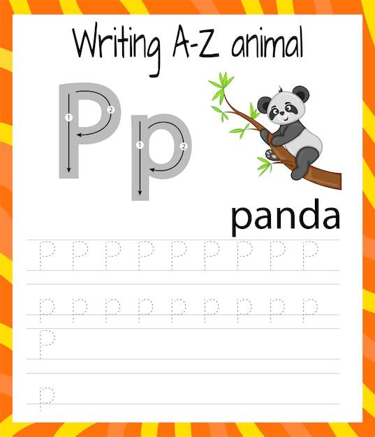 Handschrift oefenblad. eenvoudig schrijven. educatief spel voor kinderen. leren van de letters van het engelse alfabet voor kinderen. brief schrijven p Premium Vector