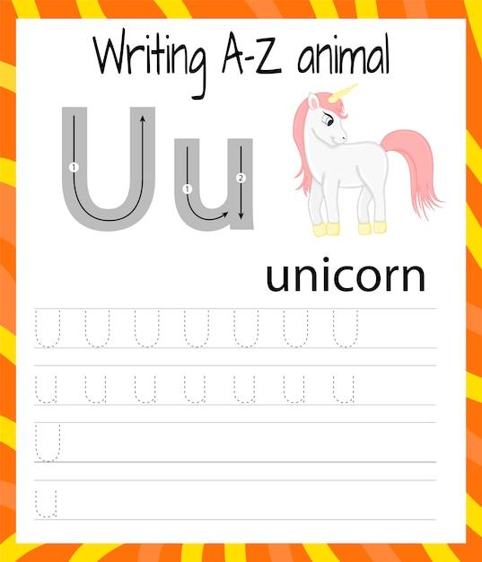 Handschrift oefenblad. eenvoudig schrijven. educatief spel voor kinderen. leren van de letters van het engelse alfabet voor kinderen. brief u Premium Vector