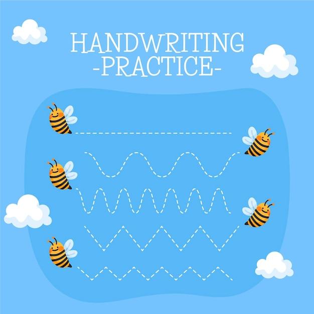 Handschrift oefenblad met bijen Gratis Vector
