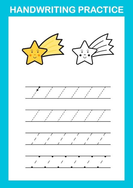 Handschrift praktijk blad illustratie vector Premium Vector