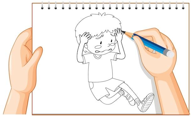 Handschrift van jonge jongen triest teleurgesteld overzicht Gratis Vector
