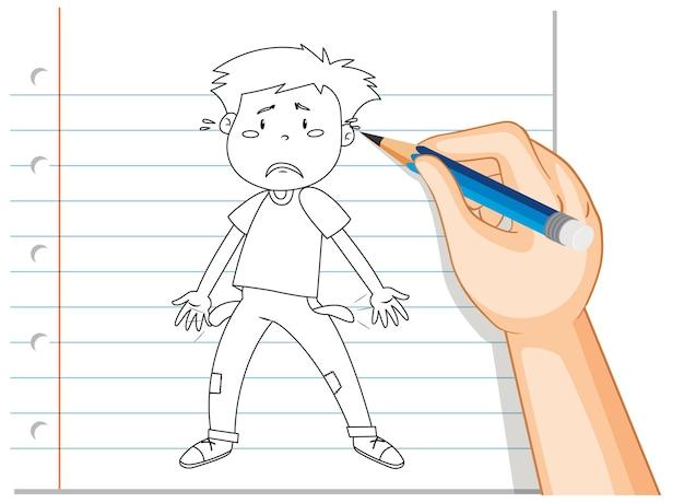 Handschrift van jonge man triest teleurgesteld overzicht Gratis Vector