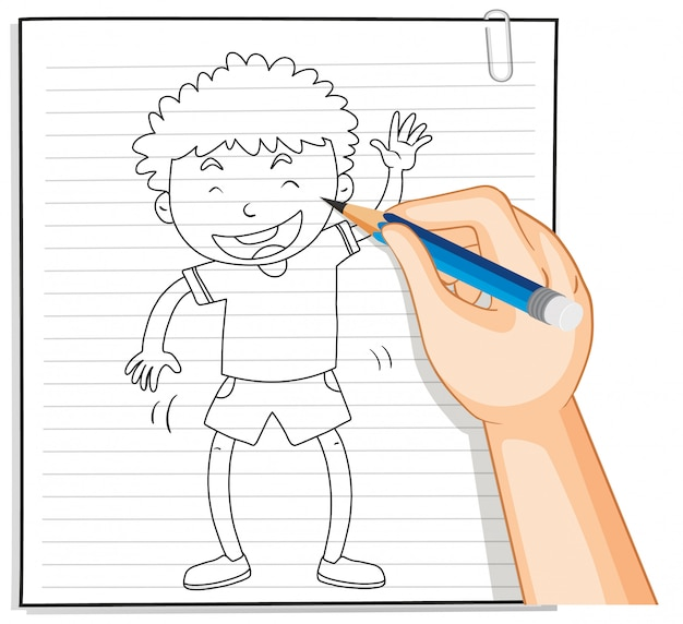 Handschrift van jongen met groet poseren Gratis Vector