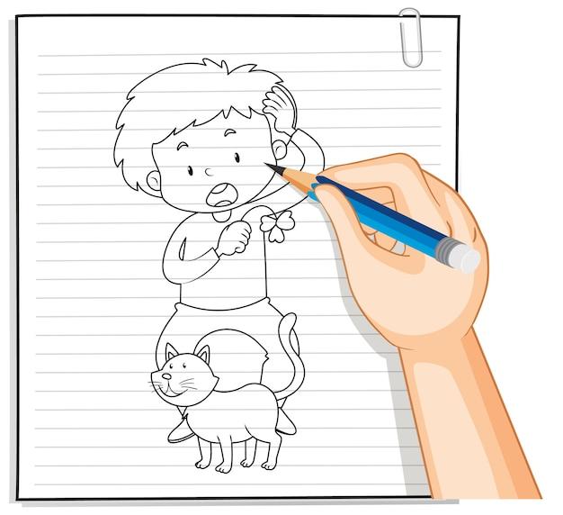 Handschrift van jongen spelen met schattige kat omtrek Gratis Vector