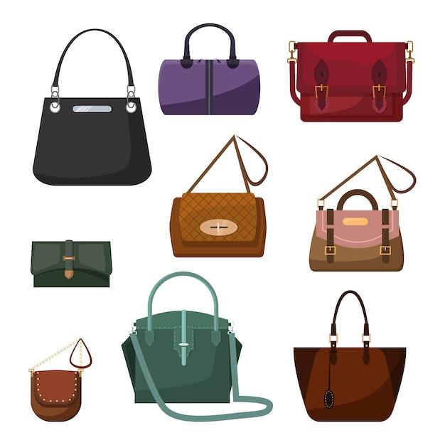 Handtassen voor dames set Gratis Vector
