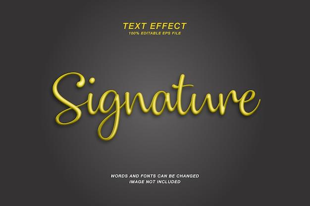 Handtekening 3d-gouden teksteffect Premium Vector