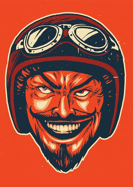 Handtekening van duivel die motorhelm draagt Premium Vector