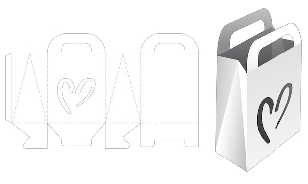 Handvatzak met hartvormig venster gestanst sjabloon Premium Vector