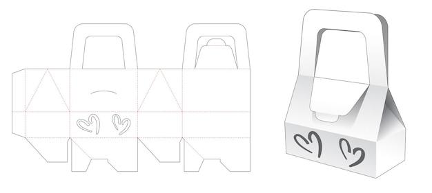 Handvatzakdoos met 2 hartvormige venster gestanste sjabloon Premium Vector