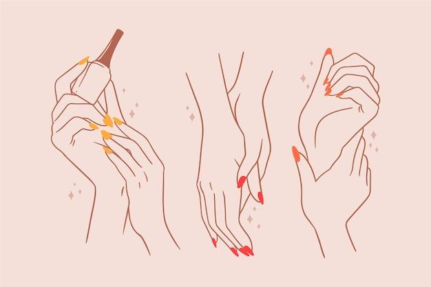 Handverpakking voor manicure Gratis Vector