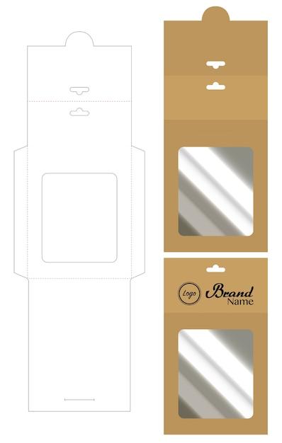 Hang envelop gestanst mock-up sjabloon vector Premium Vector