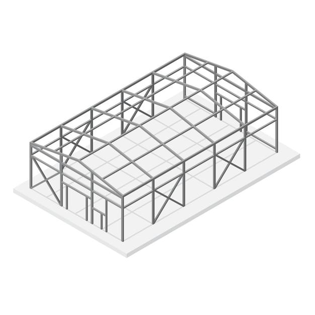 Hangar of magazijn bouwen metalen constructie frame dak en ondersteuning isometrische weergave. Premium Vector