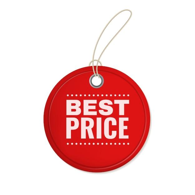 Hangend papieren aanbiedingsetiket. rode ronde vintage prijskaartje hangen voor speciale korting verkoopsjabloon Premium Vector