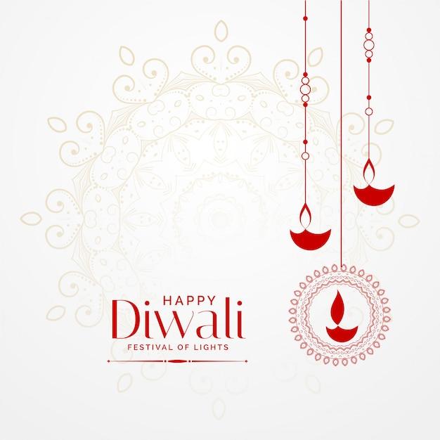 Hangende diwali diya mooie festival achtergrond Gratis Vector