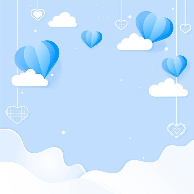 Hangende harten en wolken Gratis Vector