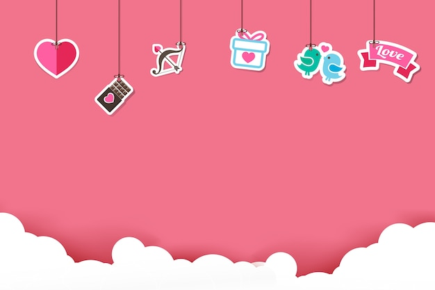 Hangende valentine stickerpictogram op roze achtergrond Premium Vector