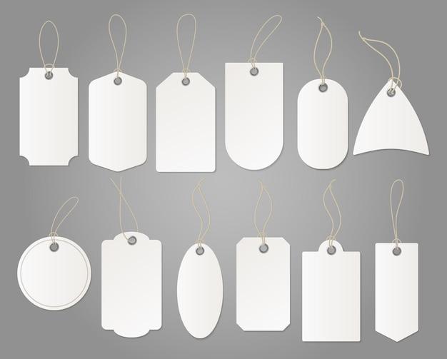 Hangende winkel white label van papier verschillende vormen geïsoleerd Premium Vector