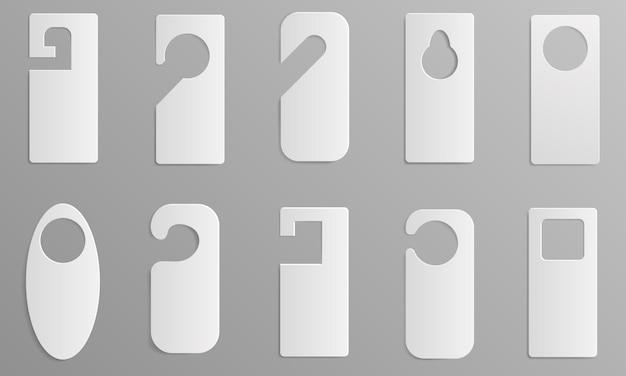 Hanger tags pictogrammen instellen. realistische set hanger tags vector iconen voor webdesign Premium Vector