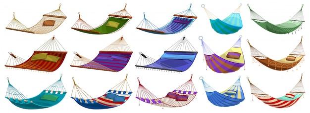 Hangmat cartoon ingesteld pictogram. illustratie touw bed op witte achtergrond. hangmat cartoon instellen pictogram. Premium Vector