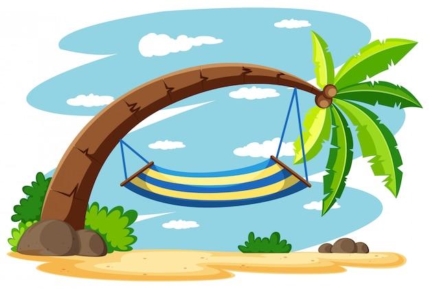 Hangmat op de kokospalm Gratis Vector