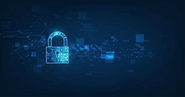 Hangslot met sleutelgatpictogram in beveiliging van persoonlijke gegevens illustreert cybergegevens of informatieprivacy-idee. Premium Vector
