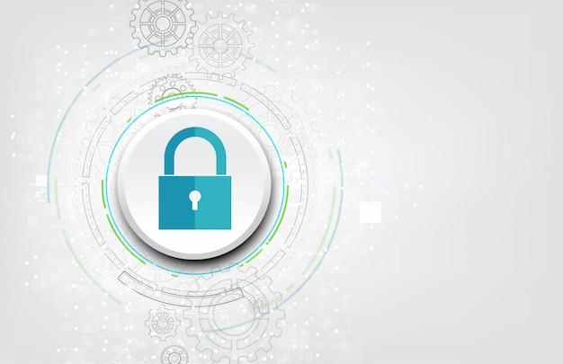 Hangslot met sleutelgatpictogram in beveiliging van persoonlijke gegevens. Premium Vector