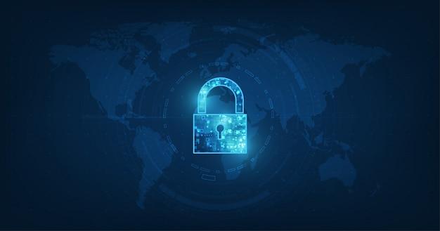 Hangslot met sleutelgatpictogram in beveiliging van persoonlijke gegevens Premium Vector