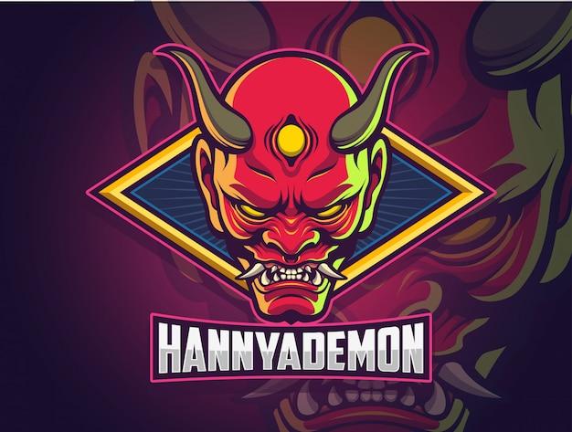 Hannya demon gezicht esports logo-ontwerp voor uw team Premium Vector