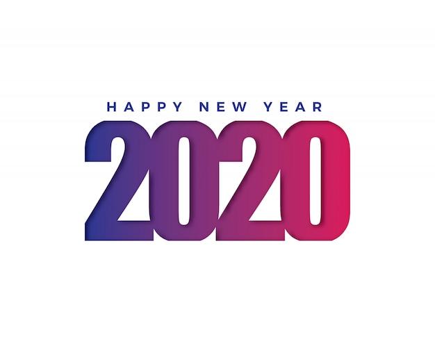 Happy 2020 nieuwjaarskaart in papieren stijl Premium Vector