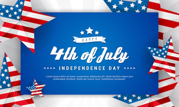 Happy 4th of july banner Premium Vector
