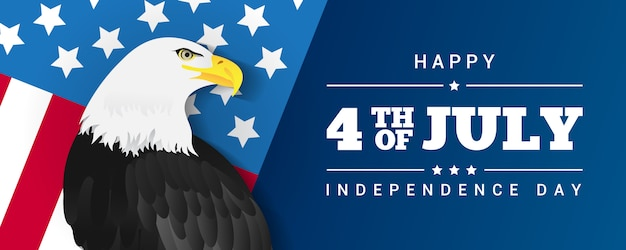 Happy 4th of july banner Premium Vector