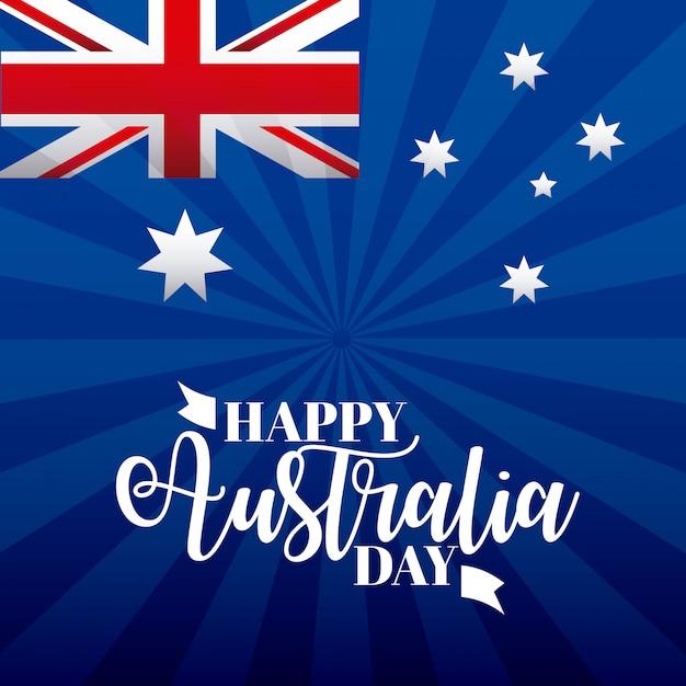 Happy australia day celebration Gratis Vector