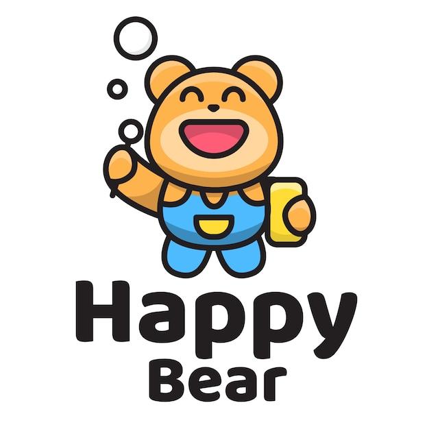 Happy bear schattig logo sjabloon Premium Vector