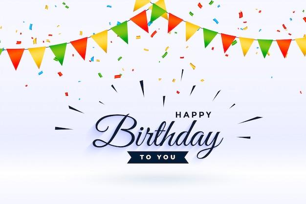 Happy birthday celebration achtergrond met confetti en garland Gratis Vector