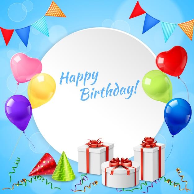 Happy birthday frame realistisch Gratis Vector