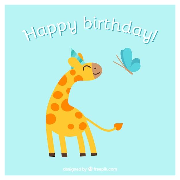 Happy birthday kaart met dieren Gratis Vector