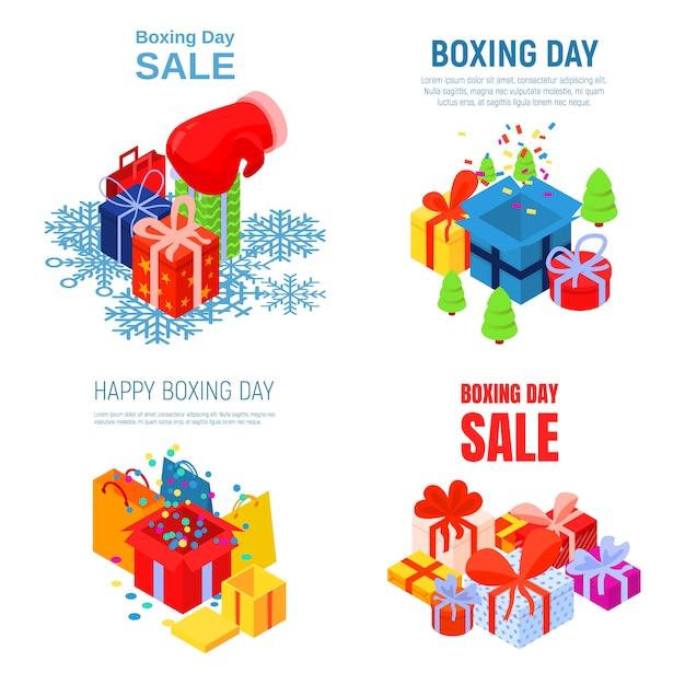 Happy boksen dag banner set. isometrische reeks van gelukkige in dozen doende dag vectorbanner voor webontwerp Premium Vector