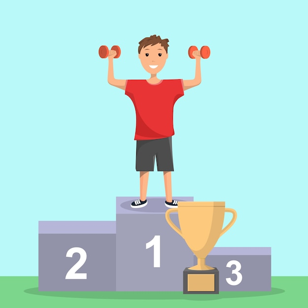 Happy boy verheugt zich in victory sport competition Premium Vector