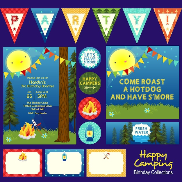 Happy camping birthday party theme Premium Vector