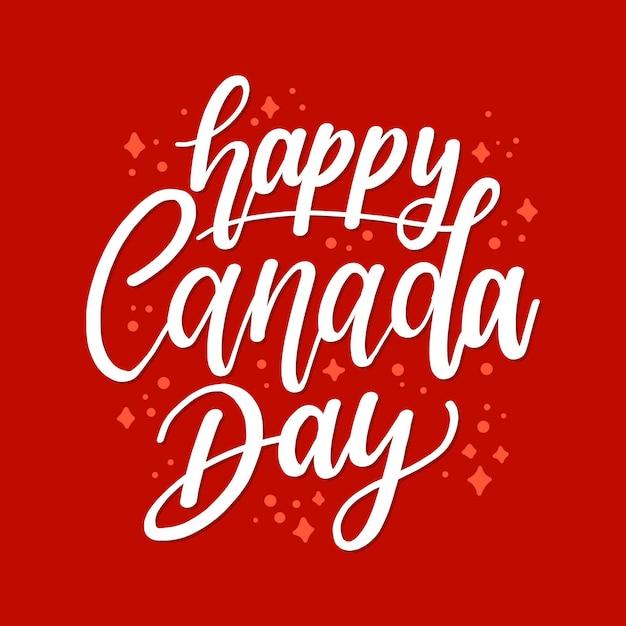 Happy canada day belettering met sterren Gratis Vector
