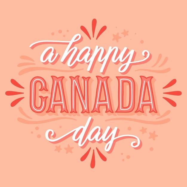 Happy canada day belettering Gratis Vector