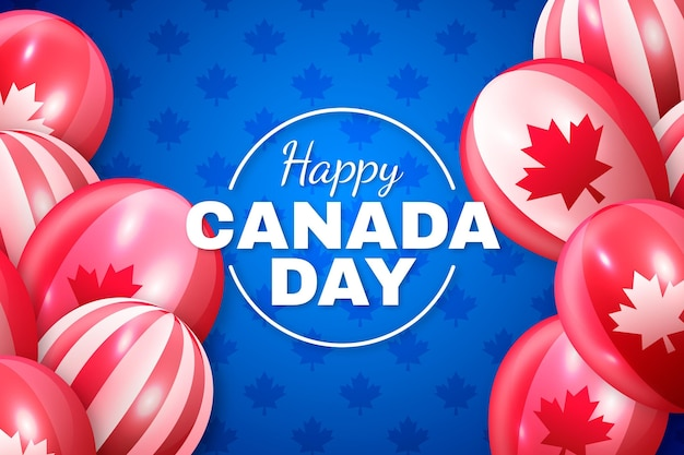 Happy canada day realistisch behang met ballonnen Gratis Vector