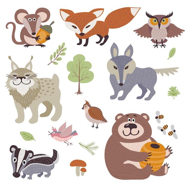 Happy cartoon en grappige hout dieren in bos collectie Premium Vector