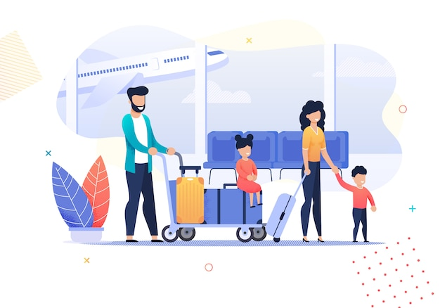 Happy cartoon family travel-activiteiten op de luchthaven Premium Vector