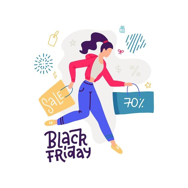 Happy cartoon meisje met boodschappentas tijdens verkoop. blije gekleurde koper vrouw met papieren pakket op wit. gekke shopaholic vrouwen genieten van korting. illustratie banner. Premium Vector