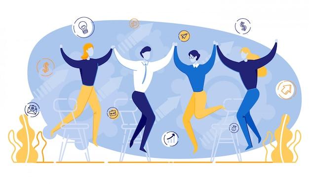 Happy cartoon mensen houden handen zakelijke bijeenkomst Premium Vector