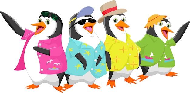 Happy cartoon pinguin op een zomervakantie Premium Vector