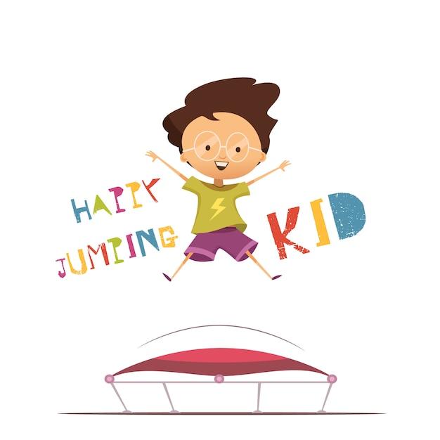 Happy cartoon voorschoolse jongen Gratis Vector